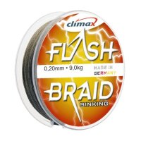 Леска плетеная Climax Flash Braid 100м, 0.16мм, цв. зелёный